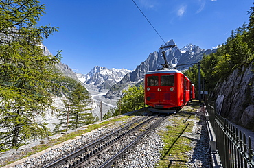 Cogwheel railway to the Montenvers mountain summit, Chamonix, Haute-Savoie, Rhone-Alpes region, France, Europe