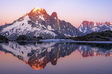 Evening atmosphere with alpenglow, water reflection in Lac Blanc, mountain peaks, Aiguille Verte, Grandes Jorasses, Aiguille du Moine, Mont Blanc, Mont Blanc massif, Chamonix-Mont-Blanc, Haute-Savoie, France, Europe