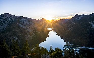 View over Plansee, sunset, Schoenjoechl, Ammergau Alps, Reutte district, Tyrol, Austria, Europe