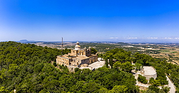 Aerial view, monastery Santuari de Bonany near Petra, Majorca, Balearic Islands, Spain, Europe