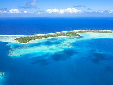 Aerial of the lagoon of Wallis, Wallis and Futuna, Oceania