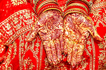 Close up of mehendi on bride's hand, Mauritius, Africa