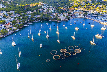 Andratx, Port d'Andratx, coast and natural harbour and fish farms in aquaculture, Majorca, Balearic Islands, Spain, Europe