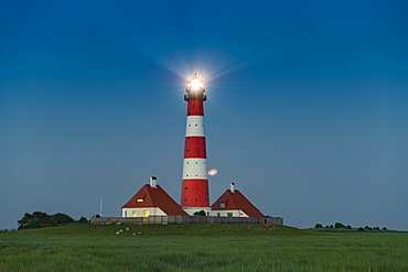 Westerhever Lighthouse, Wadden Sea National Park, North Sea, North Frisia, Schleswig-Holstein, Germany, Europe