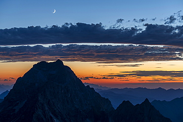 Blue hour over Allgaeu and Lechtal mountains in the foreground summit of the Widderstein, Baad, Kleinwalsertal, Vorarlberg, Austria, Europe