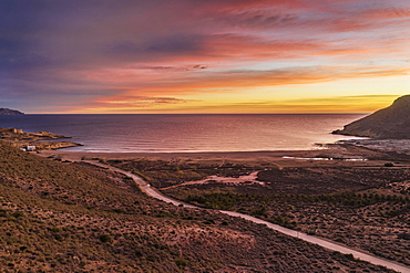 Dawn at the beach El Playazo, aerial view, drone shot, Nature Reserve Cabo de Gata-Nijar, Almeria province, Andalusia, Spain, Europe