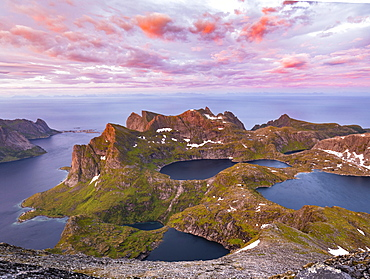 Evening atmosphere, mountain landscape with Reinefjord and lake Krokvatnet, view from the top of Hermannsdalstinden, Moskenesoey, Lofoten, Nordland, Norway, Europe