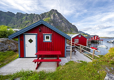 Traditional red stilt houses, typical fishermen's huts, A i Lofoten, Lofoten, Nordland, Norway, Europe