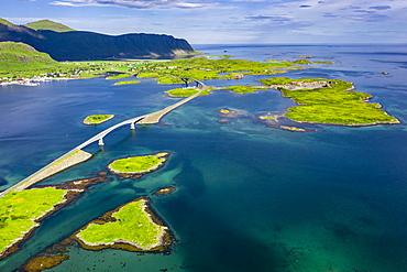 Aerial view, Fredvang Bridge, Torsfjorden near Fredvang, Lofoten, Norway, Europe