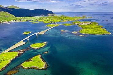 Aerial view, Fredvang Bridge, Torsfjorden near Fredvang, Lofoten, Norway, Europe