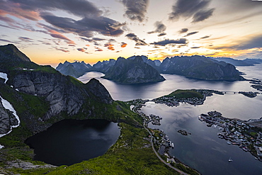 Evening atmosphere, view from Reinebringen, Reinebriggen, Hamnoy, Reine and the Reinefjord with Bergen, Moskenes, Moskenesoey, Lofoten, Norway, Europe