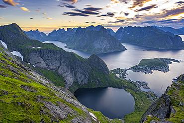 Evening atmosphere, view from Reinebringen, Reinebriggen, Hamnoy, Reine and the Reinefjord with Bergen, Moskenes, Moskenesoey, Lofoten, Norway, Europe