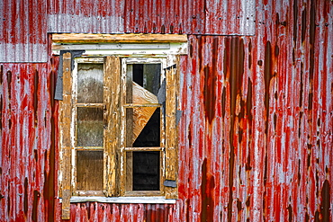 Broken window of a dilapidated wooden house, Lofoten, Norway, Norway, Europe
