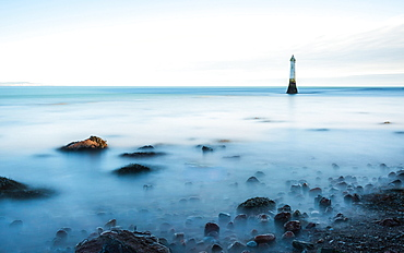 Long time exposure of Lighthouse in High Tide, Shaldon, Devon, England, Great Britain