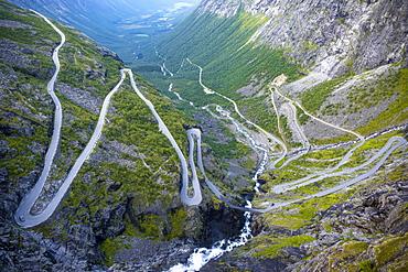 Hairpin bends on Trollstigen Road, near Andalsnes, More og Romsdal, Western Norway, Norway, Europe