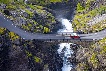 Single car on the mountain road Trollstigen, near Andalsnes, More og Romsdal, Vestland, Norway, Europe
