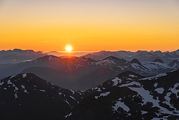 Evening atmosphere, Jostedalsbreen National Park, view from the top of Skala mountain, Breheimen mountain range, Stryn, Vestland, Norway, Europe