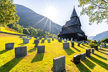 Urnes Stave Church and Cemetery, UNESCO World Heritage Site, Romanesque church from ca. 1130, Vestland, Norway, Europe