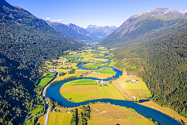 Aerial view, mountain valley with meandering river Stryneelva, Stryn, Vestland, Norway, Europe