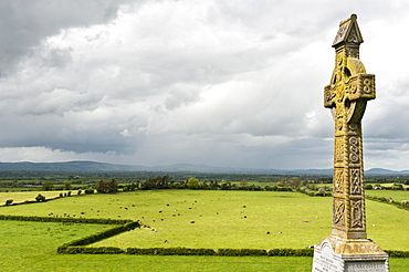 Irish cross, ornamented high cross, meadow, wide pasture, view from Rock of Cashel, County Tipperary, Ireland, Europe