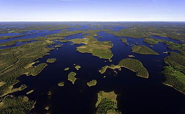 Kitkajaervi, lake system in eastern Finland, aerial view, Posio, Kuusamo, Finland, Europe