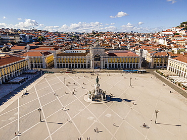 Square in center of Lisbon, Praca do Comercio, Portugal, Europe