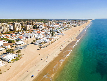 Aerial view of Islantilla, a seaside town full of resorts, Lepe, Huelva, Spain, Europe