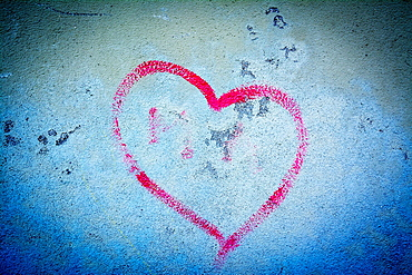 Heart painted on a wall, France, Europe