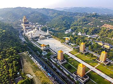 Aerial of Fo Guang Shan Monastery, Fo Gunag mountain or shan, Taiwan, Dashu District, Kaohsiung City, Taiwan, Asia