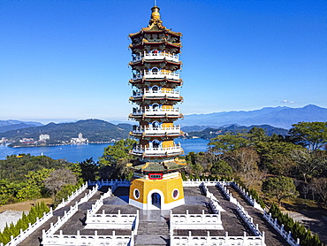 Aerial over the Ci'en Pagoda and Sun Moon Lake, National Scenic Area, Nantou county, Taiwan, Yuchi, Nantou County, Taiwan, Asia