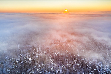 Drone shot, sunrise with fog, winter in Remstal, mixed forest, Baden-Wuerttemberg, Germany, Europe