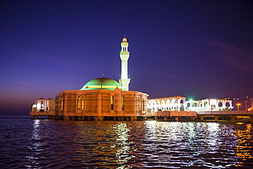 Night shot of the floating mosque, Jeddah, Saudi Arabia, Asia