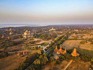 Aerial of the temples of Bagan, Myanmar, Old Bagan, Nyaung-U, Mandalay Region, Myanmar, Asia