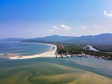 Aerial from Maungmagan beach, Dawei, Mon state, Myanmar, Tanintharyi Region, Myanmar, Asia