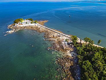 Aerial from the Myaw Yit Pagoda in the ocean near Dawei, Mon state, Myanmar, Tanintharyi Region, Myanmar, Asia