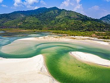 Aerial of Tizit beach, Dawei, Mon state, Myanmar, Tanintharyi Region, Myanmar, Asia
