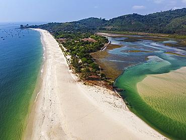 Aerial of Tizit beach, Dawei, Mon state, Myanmar, Launglon, Tanintharyi Region, Myanmar, Asia