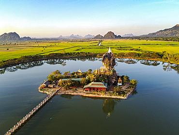 Aerial of the Kyauk Kalap pagoda, Hpa-An, Kayin state, Myanmar, Hpa-an Township, Kayin State, Myanmar, Asia