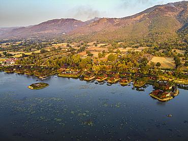 Aerial of overwater bungalows, Inle lake, Shan state, Myanmar, Nyaungshwe Township, Shan State, Myanmar, Asia