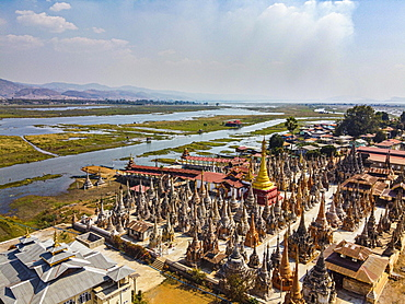 Aerial of the Tharkong Pagoda, southern Inle lake, Shan state, Myanmar, Nyaungshwe Township, Shan State, Myanmar, Asia