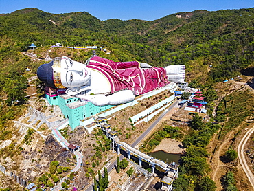 Aerial of a giant reclining buddha in Win Sein Taw Ya outside Mawlamyine, Mon state, Myanmar, Mudon, Mon State, Myanmar, Asia