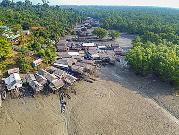 Aerial of Fishing village on stilts in the mangroves of the Mergui or Myeik Archipelago, Myanmar, Asia