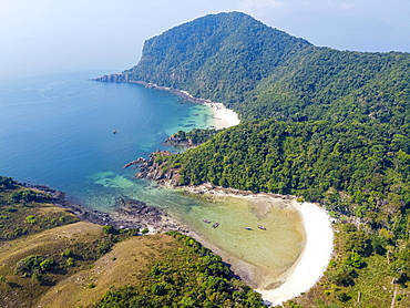 Aerial of smart island, Mergui or Myeik Archipelago, Myanmar, Asia