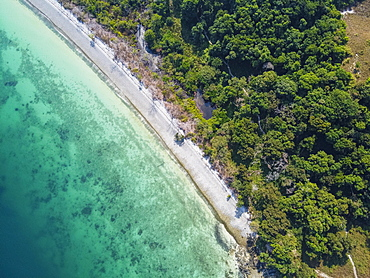 Aerial of a white sand beach on smart islandMergui or Myeik Archipelago, Myanmar, Asia