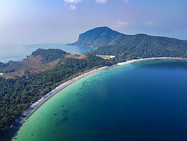 Aerial of a white sand beach on smart island, Mergui or Myeik Archipelago, Myanmar, Asia