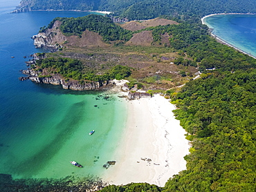Aerial of a white sand beach on Smart island, Mergui or Myeik Archipelago, Myanmar, Asia