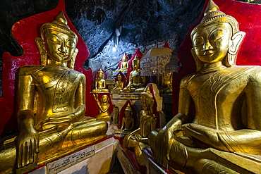 Gilded buddha images in the caves at Pindaya, Shan state, Myanmar, Asia
