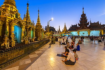 Shwedagon pagoda after sunset, Yangon, Myanmar, Asia