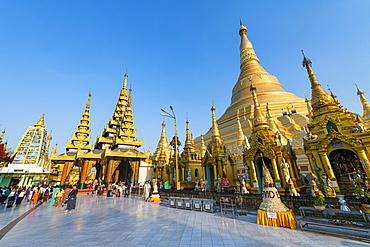 Golden spikes in the Shwedagon pagoda, Yangon, Myanmar, Asia