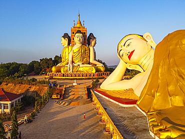 Aerial of the huge sitting and reclining buddhas Ko Yin Lay, Pupawadoy Monastery near Ye, Mon state, Myanmar, Ye, Mon State, Myanmar, Asia